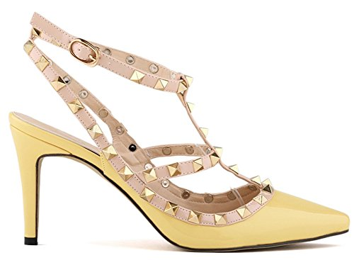 Fangsto Womens Fashion Leather High-Heeled Strappy Sandals Yellow