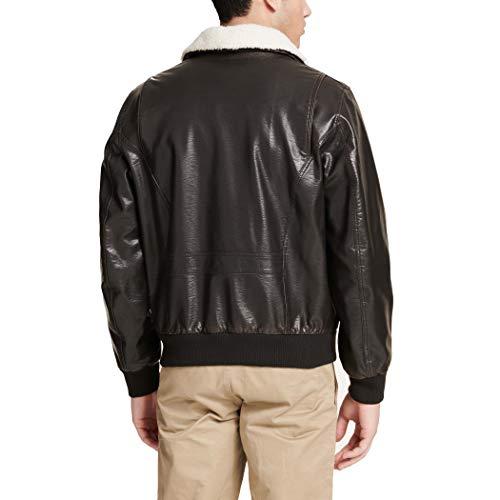 Dockers Men's Maverick Faux Leather Sherpa Collar Aviator Bomber Jacket (Standard & Big-Tall)