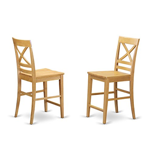 QUS-OAK-W Quincy Counter Height Stools With X-Back in Oak finish-Set of (Oak Finish Counter Height Chairs)