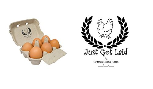 Just Got Laid - Personalised Egg Box - self inking stamp - 1 1/2