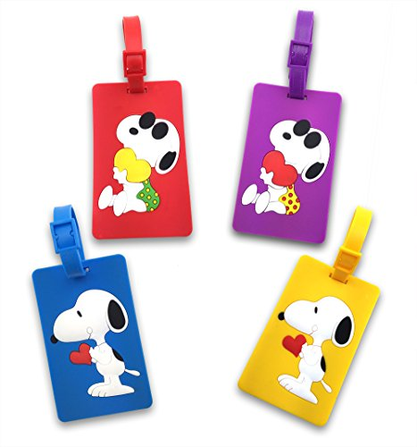 (Finex Set of 4 - Peanuts Snoopy Travel Luggage ID Tag for Bags Suitcases with Adjustable)