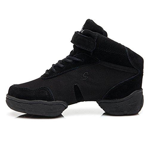 SWDZM mujeres zapatos de baile moderno/hip-hop zapatos de jazz/baile moderno/deportivo zapatillas de deporte/zapatos al aire libre ES-B53 negro
