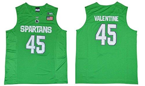 size 40 cf17c 684eb WEENKS Men's Denzel Valentine 45 Michigan State Spartans College Basketball  Jersey M Apple Green