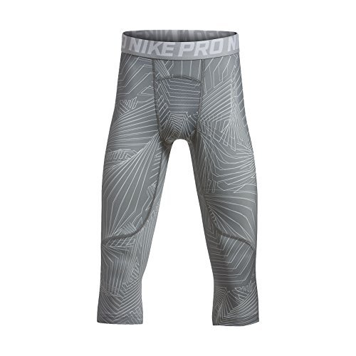 NIKE Pro Boy`s 3/4 Printed Training Leggings (Cool Grey (943374-065)/White/Reflective Silver, X-Large) -