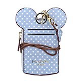 Cute Neck Pouch, Small Fashion Student ID Card Case Holder Wave Dot Coin Wallet Purse for Women/Girls/Children Travel (Blue)