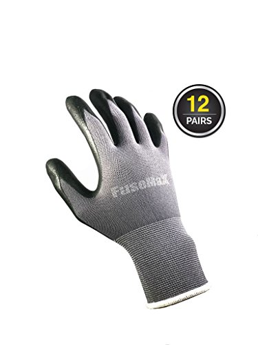 FuseMax Women and Men Work Gloves Nylon Seamless Nitrile Foam Safety Gloves for Work - 12 pairs (Size: S, M, L, X-Large)