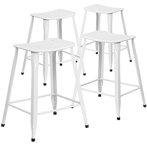 Flash Furniture 4 Pk. 24'' High White Metal Indoor-Outdoor Counter Height Saddle Comfort (High Modern Counter Stool)