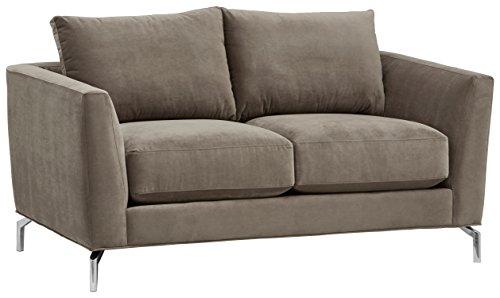 Rivet Emerly Modern Velvet Metal Leg Sofa, 63