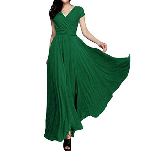 ❤️ Vestido largo de noche de gasa sólido con cuello en V de las mujeres de moda vestido largo ABsolute Verde
