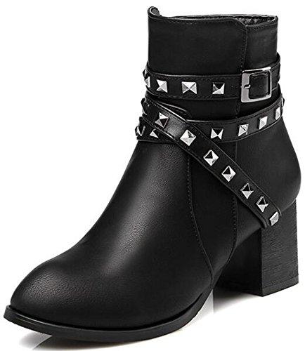 Studded Biker Boots (Summerwhisper Women's Stylish Rivets Studded Cross Strap Almond Toe Biker Booties Side Zipper Block Mid Heel Ankle Boots Shoes Black 7.5 B(M) US)