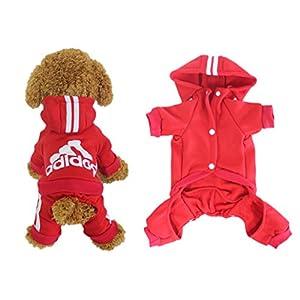 Scheppend Adidog Pet Clothes for Dog Cat Puppy Hoodies Coat Winter Sweatshirt Warm Sweater,Red Medium