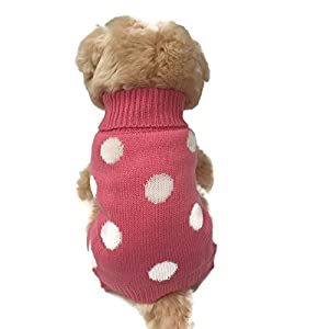 Small dog clothes warm cute french polka dots pink pet sweater. winter apparel, Puppy (Small)