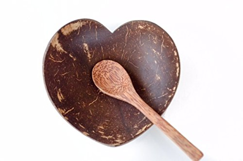 Kalea Heart Shaped Shallow Coconut Bowl with Spoon - Real Natural Coconut Shells - The Eco Friendly, Practical and Fun Way To Eat Healthy (Bowl Shell Shaped)