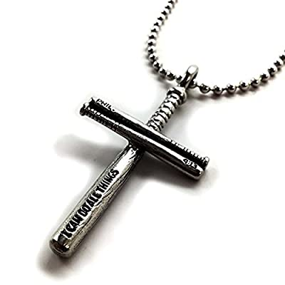 Baseball Bat Necklace In Pewter