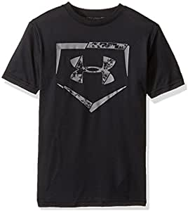 Under Armour Boys' Diamond Logo T-Shirt, Black/Graphite, Youth X-Small
