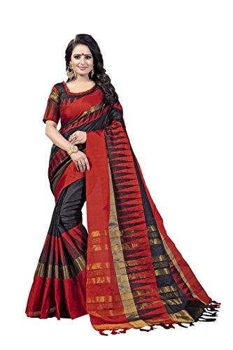 Angel Fashion Trends Black Cotton Designer Indian Pakistani Saree with Unstitched Blouse Piece (Black Designer Saree)
