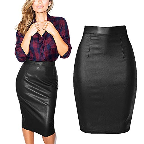 Pu Denim Pencil Bodycon Mini Skirt Sexy Tight Stretchy Skirts 2018 Spring Summer Black 6