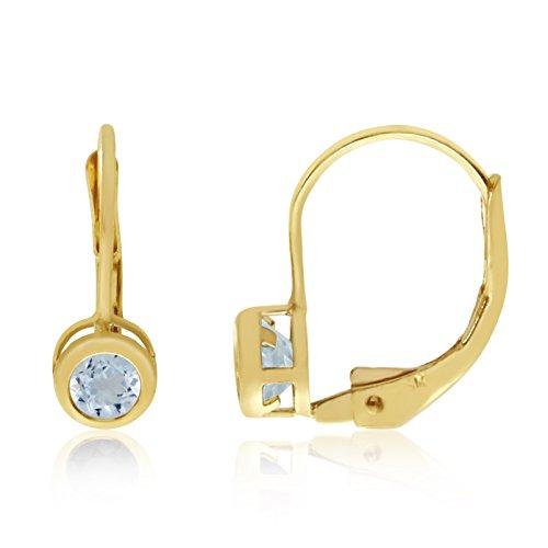- Jewels By Lux 14k Yellow Gold Dangle Genuine Blue Birthstone 4mm Aquamarine Bezel Leverback Earrings (0.23 Cttw.)