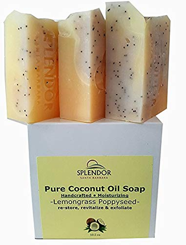 Lemongrass Poppy Seed Exfoliating (10.5 oz). Pure Coconut Oil Soap. Handmade, Vegan, Moisturizing, All Natural With Therapeutic Grade Essential Oil