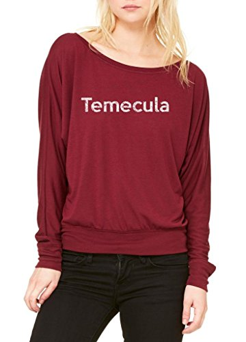 Ugo Temecula CA California Map Flag Home of University of Women's Flowy Long Sleeve Off - Temecula In Outlets