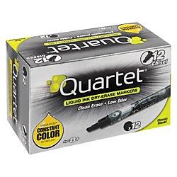 Quartet Dry Erase Markers, EnduraGlide, Chisel Tip, BOLD COLOR, Black, 12 Pack - Marker Whiteboard Bold