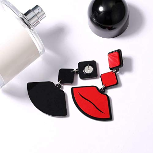 - Vintage Stylish Flaming Red Lip Earring with Acrylic Geometric Figures Studs Necklace Jewelry Crafting Key Chain Bracelet Pendants Accessories Best