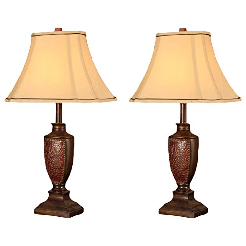 Table Lamp Set, Brush Red Body & Light Brown Fabric Square Shade, Contemporary, (Set of 2) by Aromzen (Lamp Table Beaded Red Shade)
