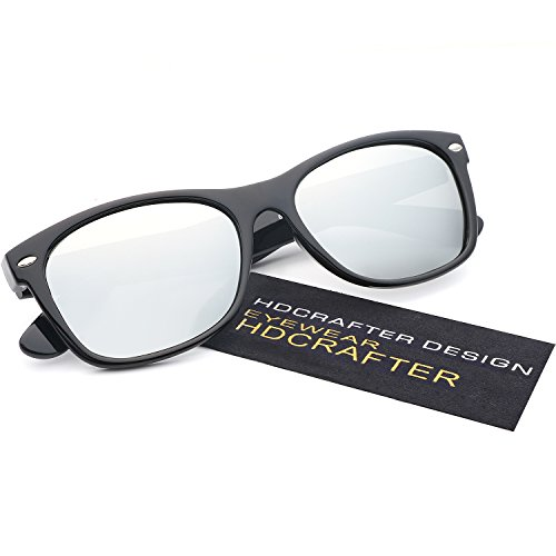 HDCRAFTER Classic Unisex Polarized Mirror Lens Wayfarer Sunglasses - Men Sunglasses Reflective