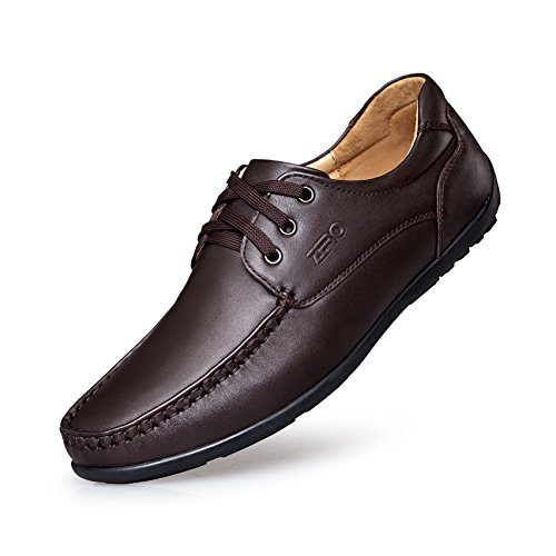 ZRO Mens's Casual Moc-Toe Stitching Leather Loafers Shoes Lace Up Dark Brown US 10