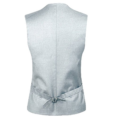 MARIR Men Vests Jacket Classic Style Slim Fit Business Waistcoat (Grey, M) by MARIR (Image #3)