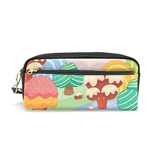 Lolly Colorful Leather Student Pencil Case Cosmetic Bag Pen Makeup Pouch for Girl Boy