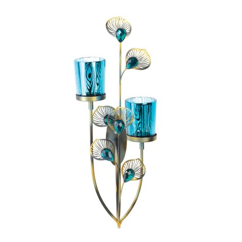 Exotic Peacock Plume Wall Sconce Collection Double Wall Sconce