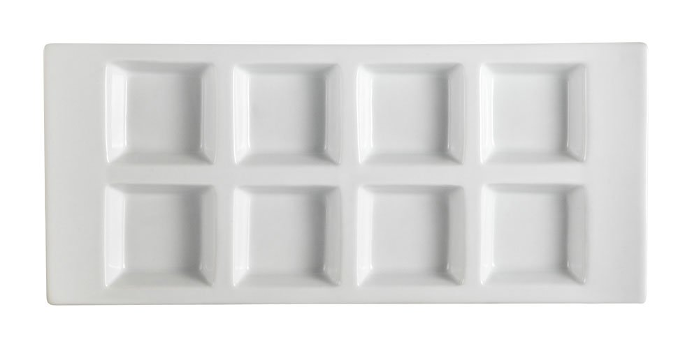 CAC China CN-8T13 Divided Tray 13-1/2-Inch by 6-Inch 1-Ounce 8 Super White Porcelain 8-Compartment Rectangular Tray, Box of 12
