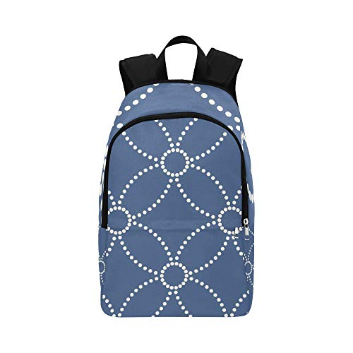 YPink Dark Blue Graceful Retro Floral Pattern Casual Daypack Travel Bag College School Backpack for Mens and Women