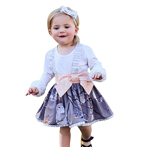 Lurryly❤Baby Long Sleeve Dresses T Shirt Tops Floral Bow Dress Kids Outfit Clothing 1-4T