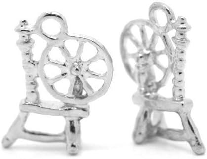 Paquet 5 x Argent Antique Tib/étain 18mm Breloques Pendentif Rouet - Charming Beads ZX04265 -