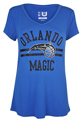 fan products of NBA Women's Orlando Magic T-Shirt V-Neck Relaxed Fit Short Sleeve Tee Shirt, Small, Blue