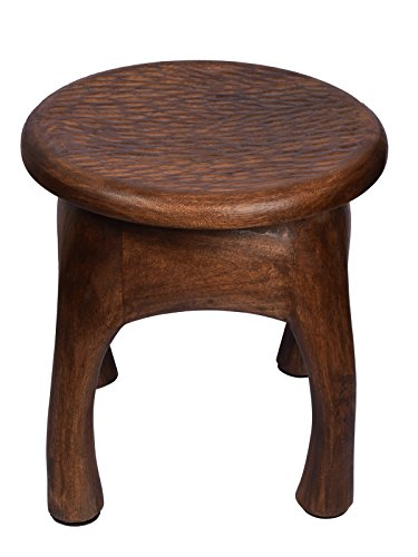 Vintage Style Wooden Stool Multiutility Hand Carved with Timber Texture & Walnut Finish Sturdy Lightweight Home Kids Room Furniture Decor 14 x 18 Inches