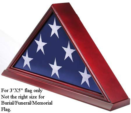 (Flag Display Case Box Frame for 3'X5' Flag Folded. (NOT for Memorial or Funeral Flag), Solid Wood - Cherry Finish)