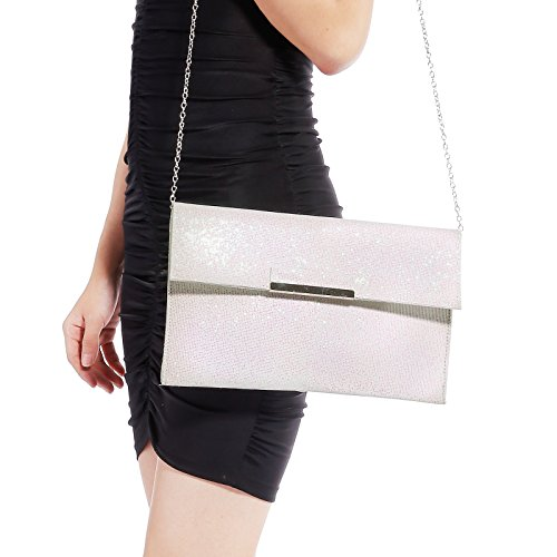 Glitter PARTY EVENING GLITTER White LADIES WOMENS SHIMMER BAG PROM PARTY CLUTCH HANDBAG STYLE WfnPxBZ