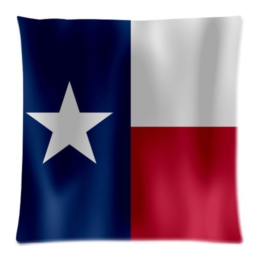 Texas State Flag Cushion Case - Throw Pillow Case Decor Cushion Covers Square with Hidden Zipper Closure - 18x18 inches, Twin-sided Print