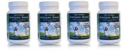 Meilleures Naturals racine Konjac Glucomannan Racine, 2000 mg, 180 capsules végétariennes (pack de 4)