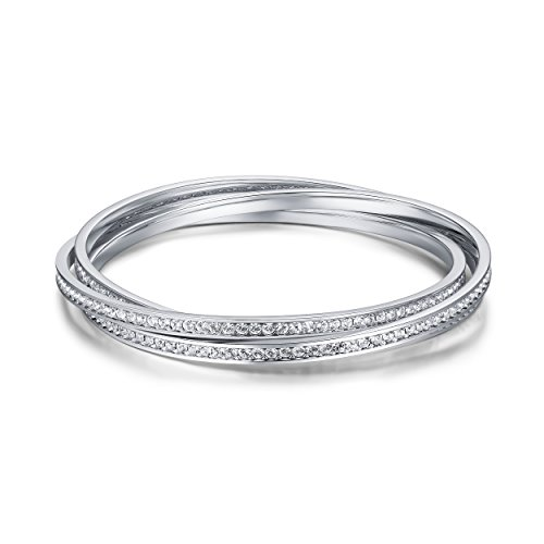 My Jewellery Story MYJS Trinity Rhodium Plated Interlocking Eternity Crystal Bangles - Eternity Bangles Crystal