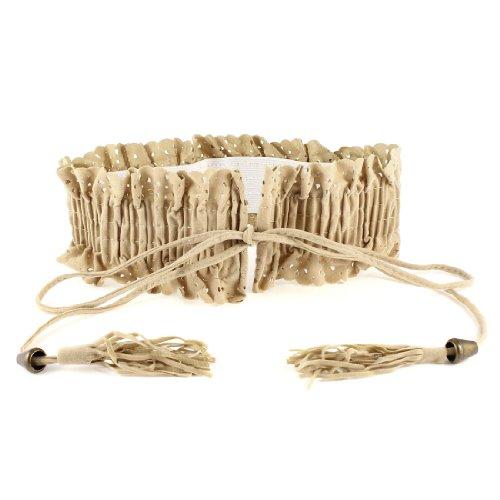 per con a con in kaki beige donna elastico Tessuto bordato cinturino pizzo laccetti chiusura Ex8gpvwqZ