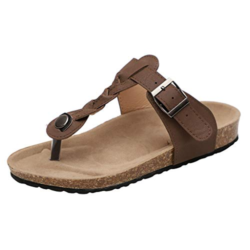Respctful✿Unisex Leather Sandals Casual Slip On T Strap Thong Shoes Flip Flop Shoes Ladies Women Teens Girls Brown