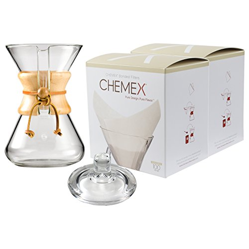 Chemex Classic Wood Collar and Tie Glass 30 Ounce Coffee Maker with Cover and 200 Count Oxygen Cleansed Bonded Square Coffee Filters by Chemex (Image #1)