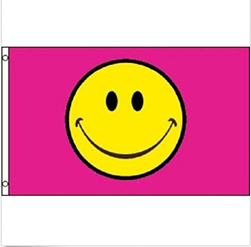 USA Premium Store Happy Face Pink Flag Smiley Face Party Banner Event Pennant 3x5]()