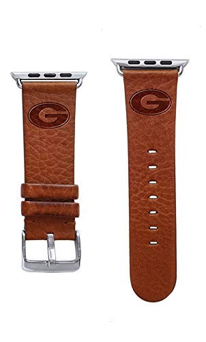 Affinity Bands Georgia Bulldogs Top Grain Leather Band Compatible with Apple Watch - Available in Three Leather Colors - Band ONLY