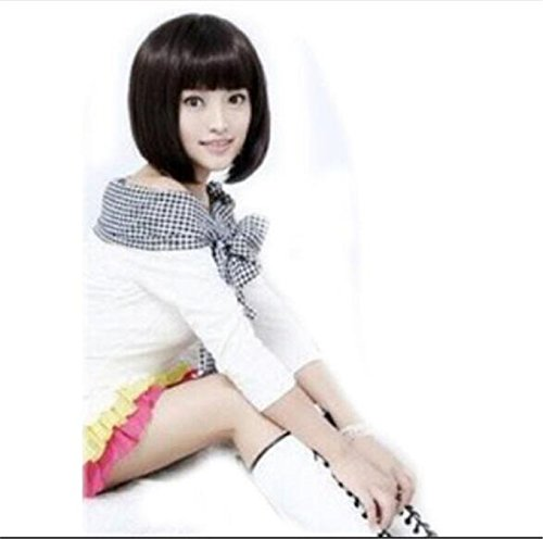 Cheap Wigs With Bangs (Futuretrend short black bob wigs with neat bangs cheap synthetic sexy female short haircut wigs best natural looking women wigs cosplay)