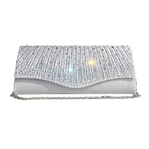 Gesu Women Clutches Satin Flap Rhinestone Clutch Evening Bag Wedding Party Bridal Purse Silver